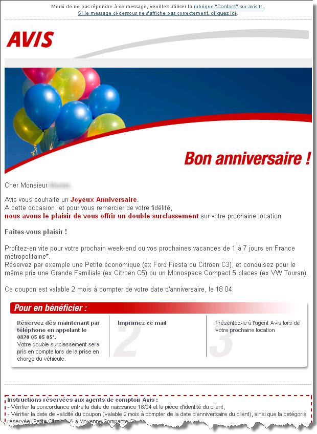 Email anniversaire erreur