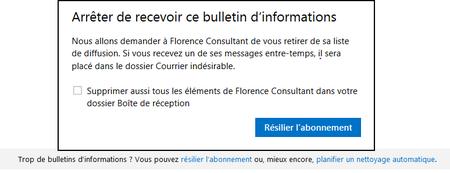 Outlook_arreter de recevoir ce bulletin