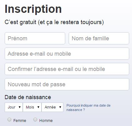 Inscription FB