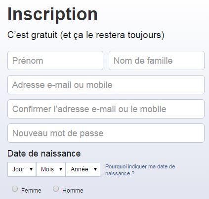 Inscription FB